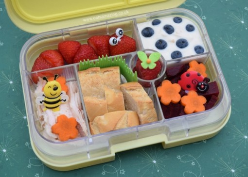 Garden-themed-bento-box-idea-with-cute-strawberry-caterpillar-from-Eats-Amazing-UK-healthy-fun-food-for-kids