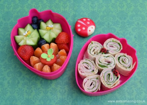 Garden-themed-bento-lunch-with-tortilla-wrap-spirals-from-Eats-Amazing-UK-fun-packed-lunch-idea-for-kids