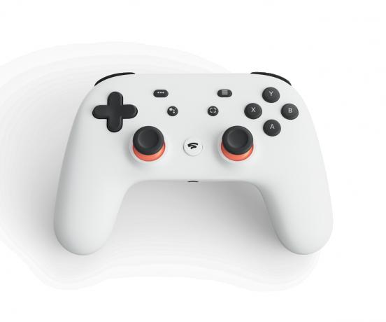 De Stadia controller ligt lekker in de hand en is vergelijkbaar met de Xbox, PS4 en Switch controllers