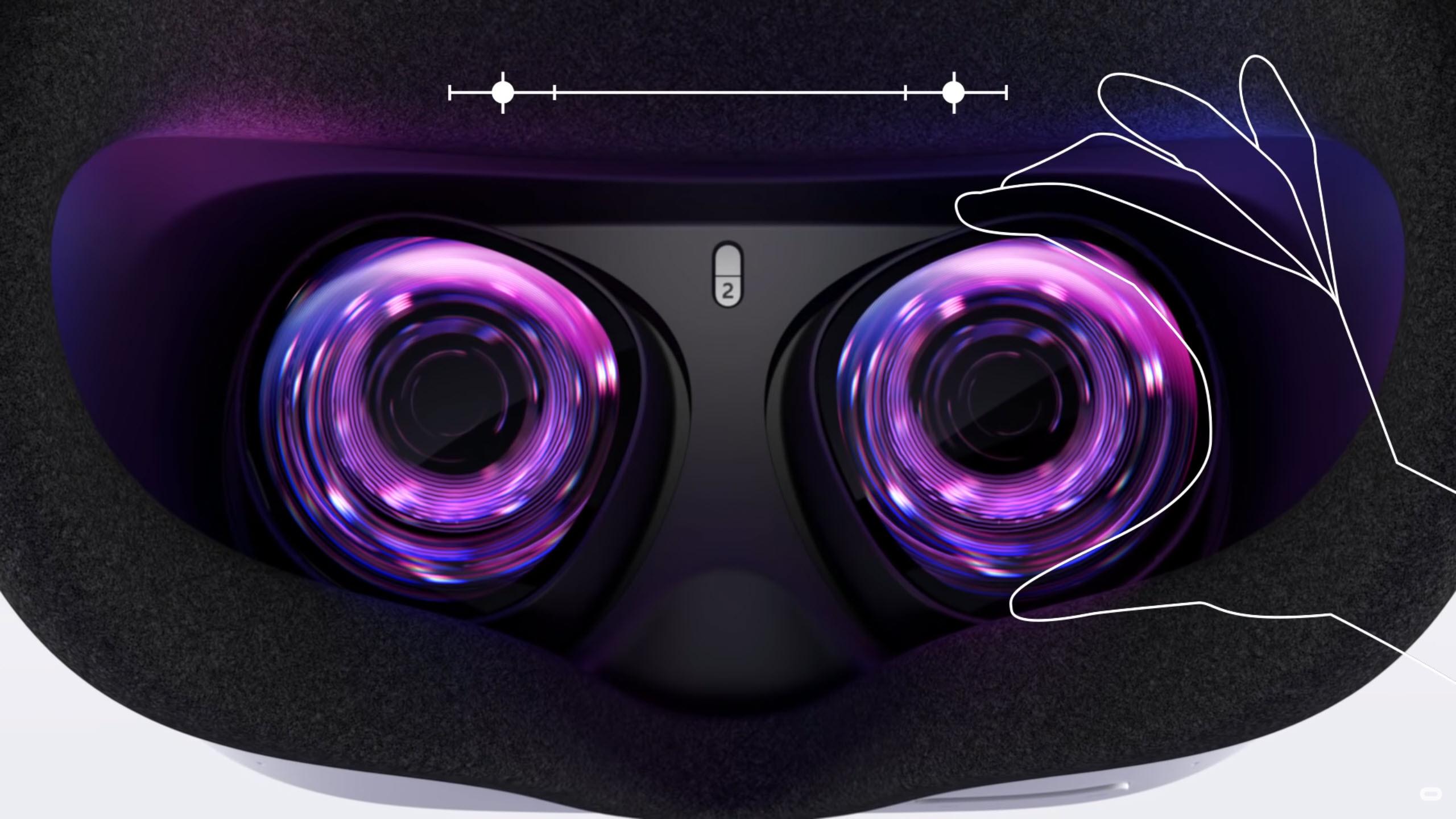 De Oculus Quest 2 heeft maar drie standen voor de oogafstand.